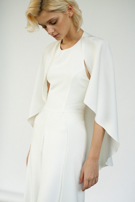 Modern bridal jumpsuit Minimalist off white wedding pantsuit cape Bridal trousers jumpsuit Ivory Crepe bridal jumpsuit Prom jumpsuit SIENNA by Reev Bridal